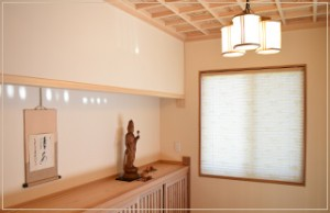 新築のカーテン・プリーツスクリーン・クロス・竹すだれのコーディネート及び施工