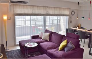 マンションの家具、照明、カーテン、クッション、ラグのコーディネート及び施工